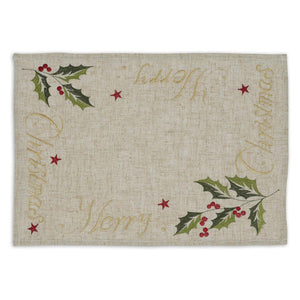 """Merry Christmas"" Embroidered Placemat"