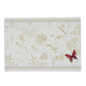 Botanical Butterfly Embroidered Placemat
