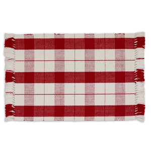 Red Tinsel Plaid Fringed Placemat