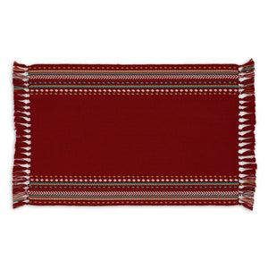 Red Chipotle Hacienda Stripe Fringed Placemat