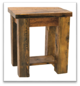 Reclaimed Barn-Wood End-Table w/Shelf