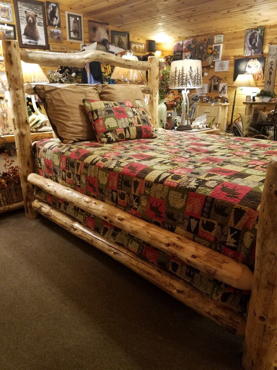 Deluxe Double Log Side Rails Rustic Bed Frame Kit