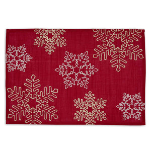 Shimmering Snowflakes Embroidered Placemat