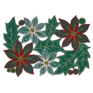Poinsettia Embroidered Placemat