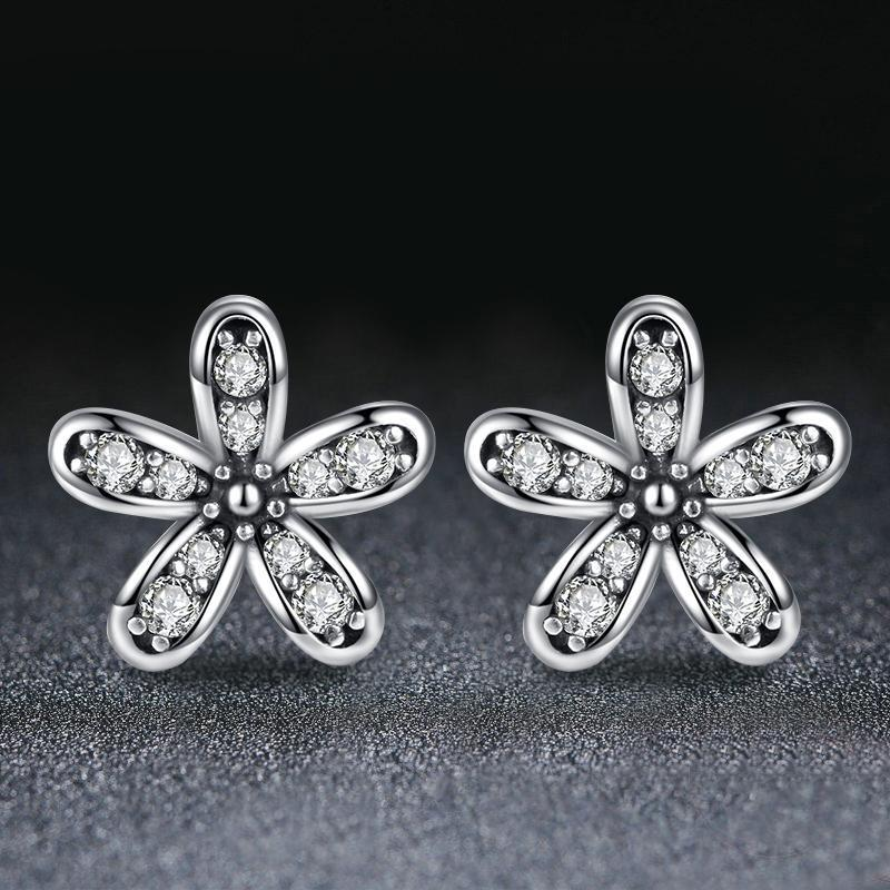 00fe38743b02f Romantic Jewelry Authentic Silver Plated Dazzling Daisy Stud Earrings