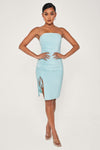 Nellie Ruched Side Shimmer Mini Dress - Turquoise