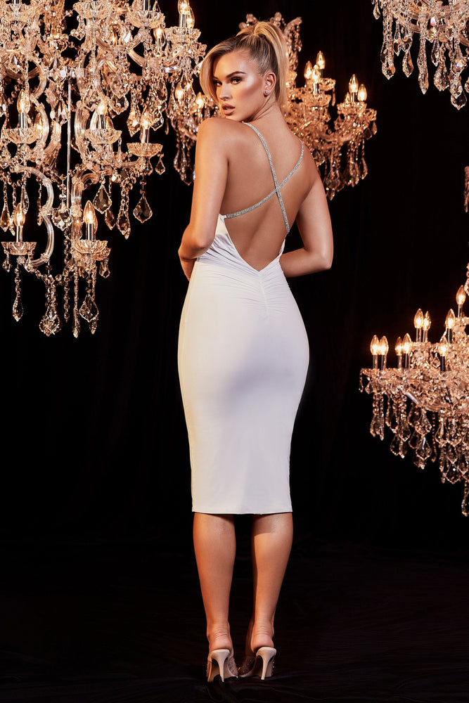 Topaz Ruched Back Diamante Cross Back Dress - White - MESHKI