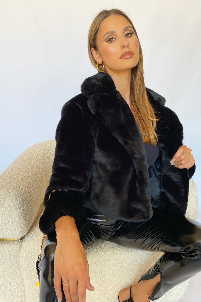 Mary Cropped Faux Fur Jacket - Black