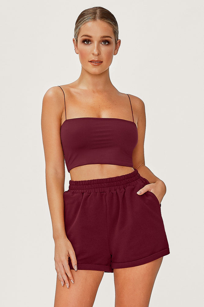 Yvonne Crop Top - Burgundy - MESHKI