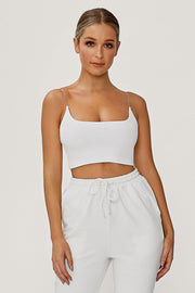 Kaiya Thin Strap Scoop Neck Crop Top - White - MESHKI ?id=13365788868683