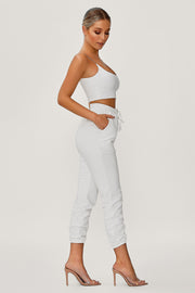 Kaiya Thin Strap Scoop Neck Crop Top - White - MESHKI ?id=13365788934219