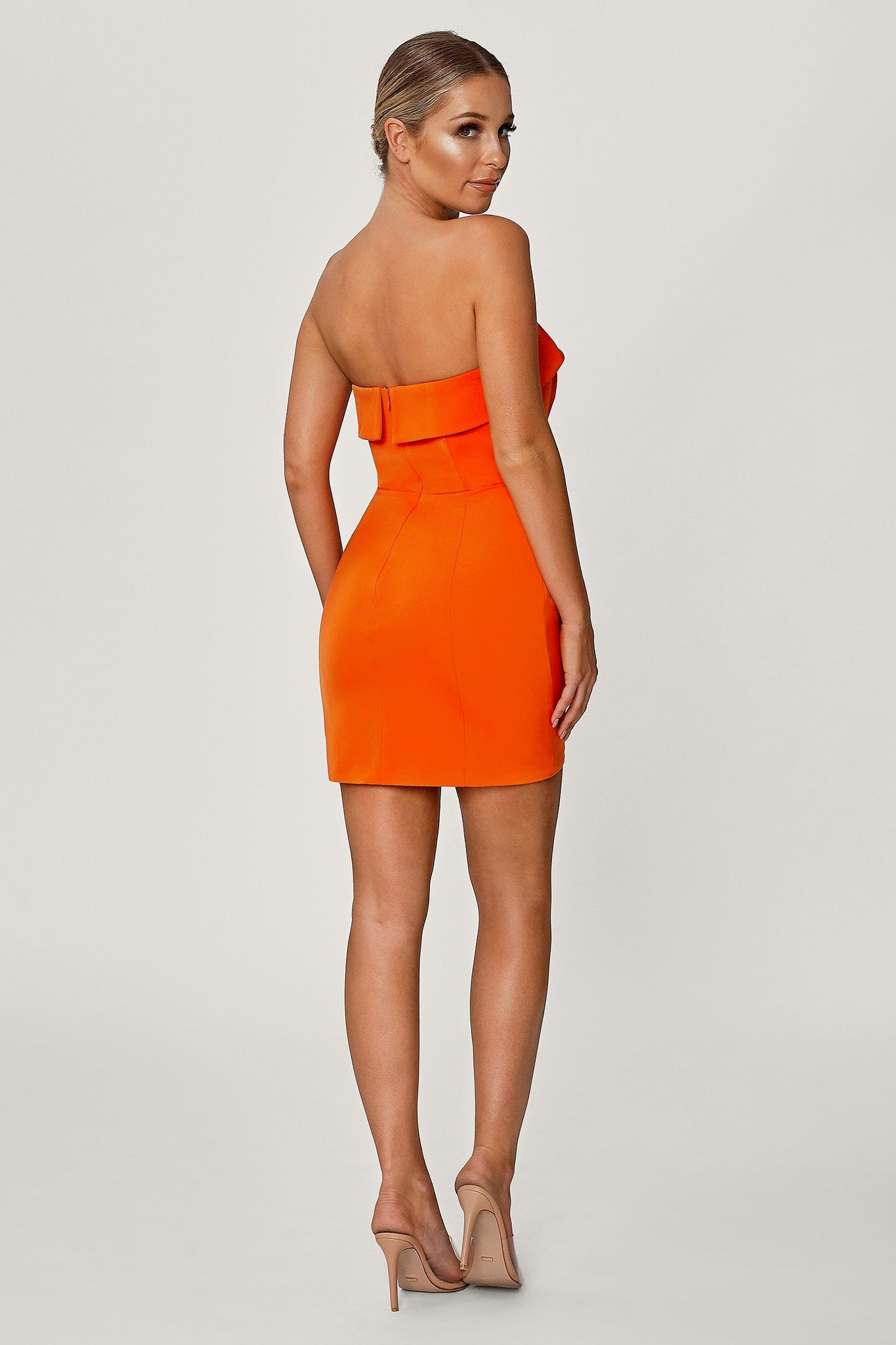 Macie Strapless Mini Dress - Orange - MESHKI