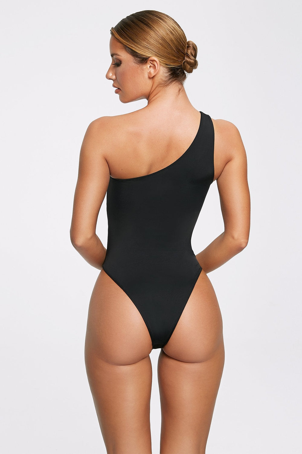 Freya Reversible One Shoulder Swimsuit - Black - MESHKI ?id=11820528435275