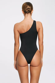 Freya Reversible One Shoulder Swimsuit - Black - MESHKI ?id=11820528861259