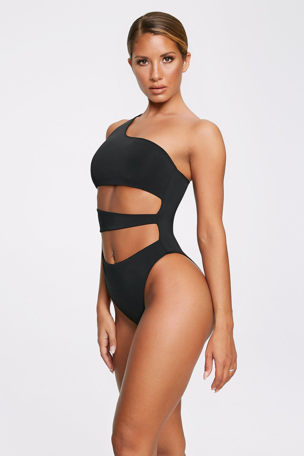 Freya Reversible One Shoulder Swimsuit - Black - MESHKI ?id=11820530368587