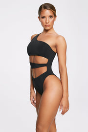 Freya Reversible One Shoulder Swimsuit - Black - MESHKI ?id=11820530892875