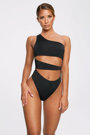 Freya Reversible One Shoulder Swimsuit - Black - MESHKI ?id=11820533907531