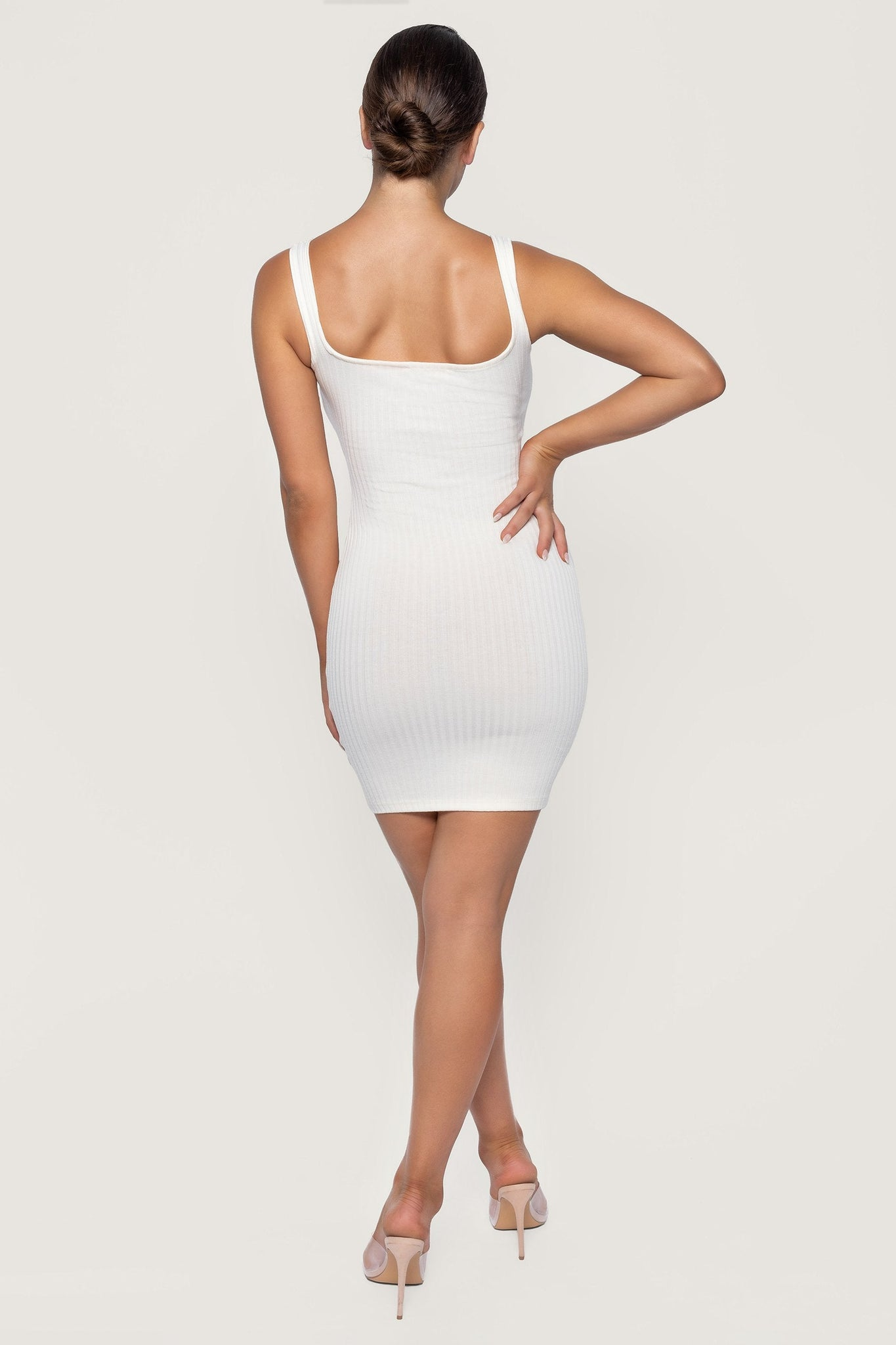 Valencia Tie Mini Dress - Ivory - MESHKI