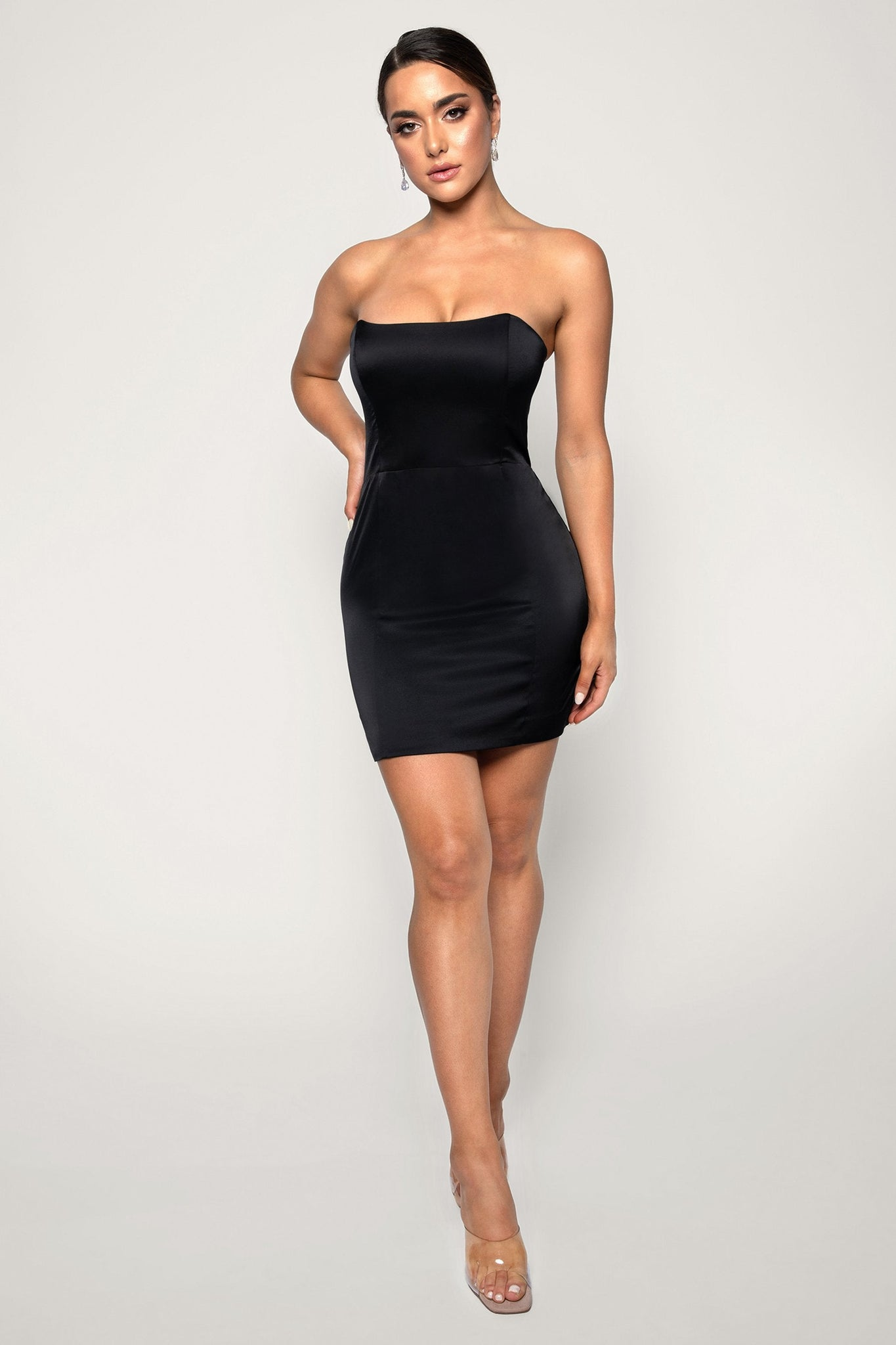 Kalita Strapless Satin Mini Dress - Black - MESHKI