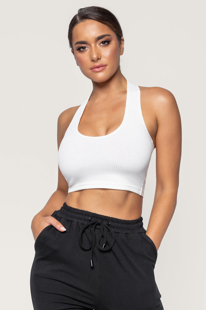 Courtnie Ribbed Halter Crop Top - White - MESHKI