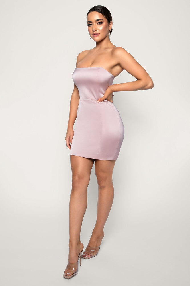Kalita Strapless Satin Mini Dress - Blush - MESHKI