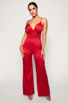 Chana Ruched Jumpsuit - Red