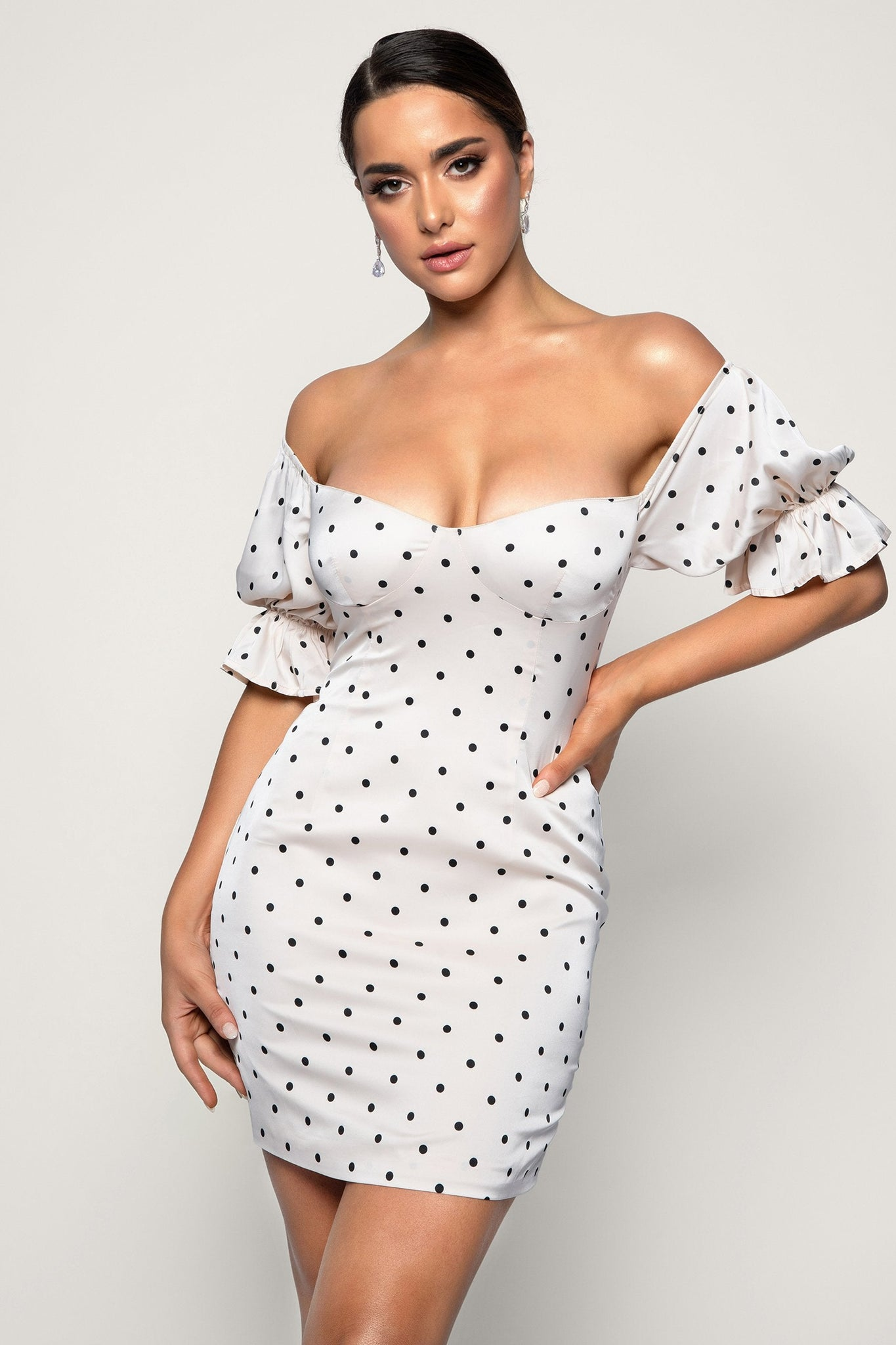 Jemima Polkadot Off Shoulder Mini Dress - Polkadot - MESHKI