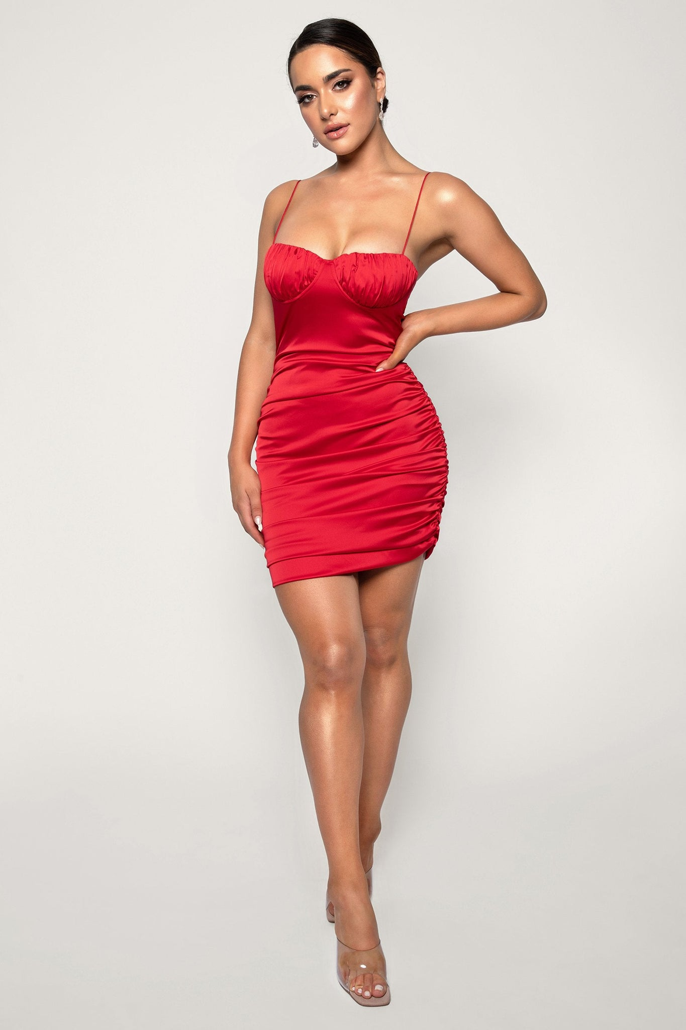 Molly Ruched Thin Strap Bodycon Mini Dress - Red - MESHKI