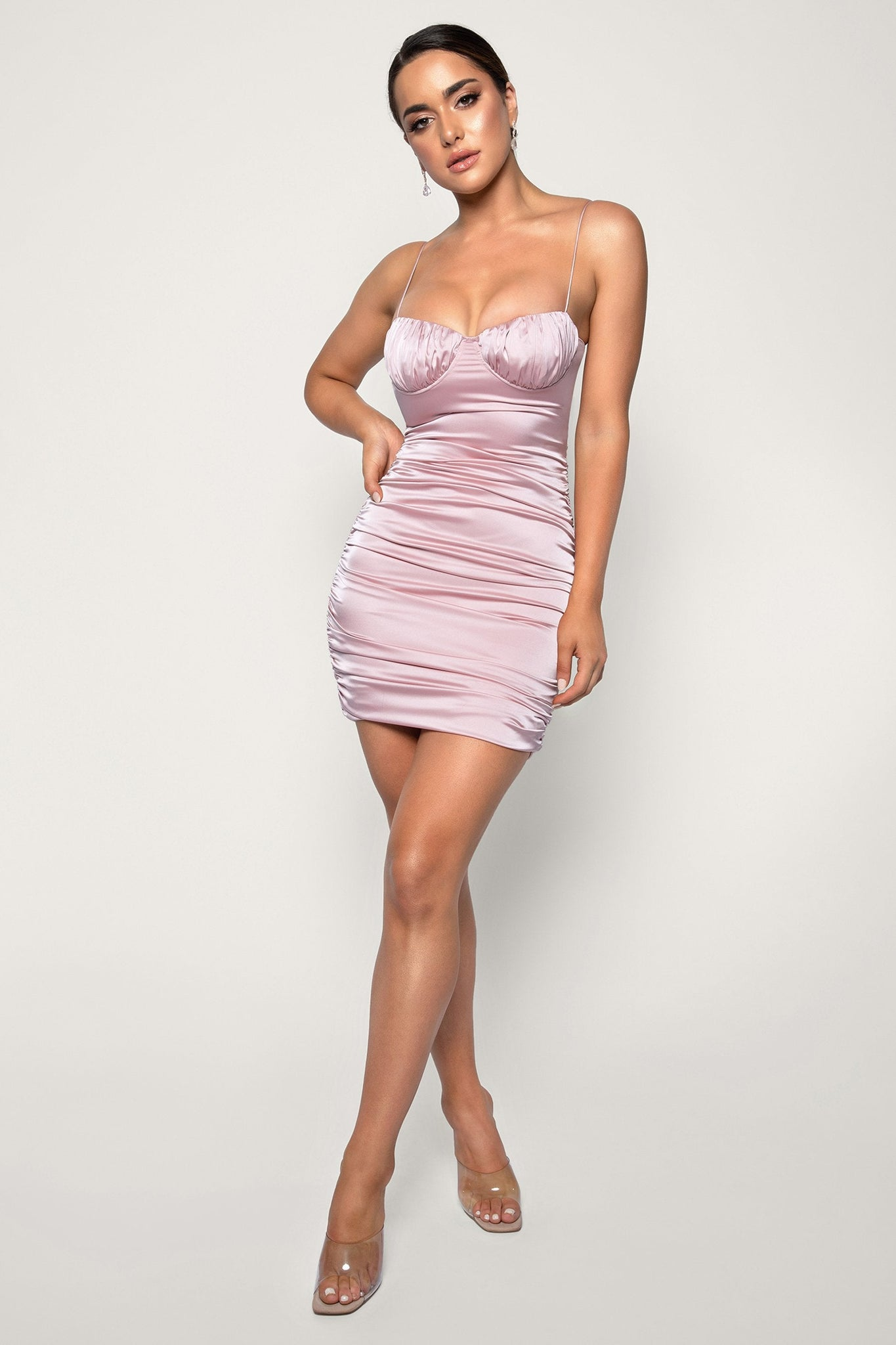 Molly Ruched Thin Strap Bodycon Mini Dress - Blush - MESHKI