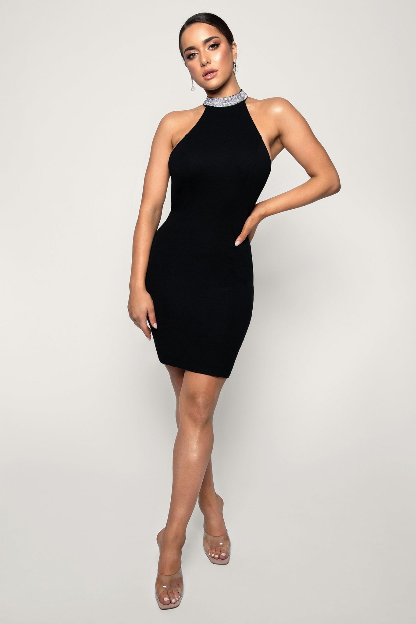 Stephanie Diamante Back Mini Dress - Black - MESHKI