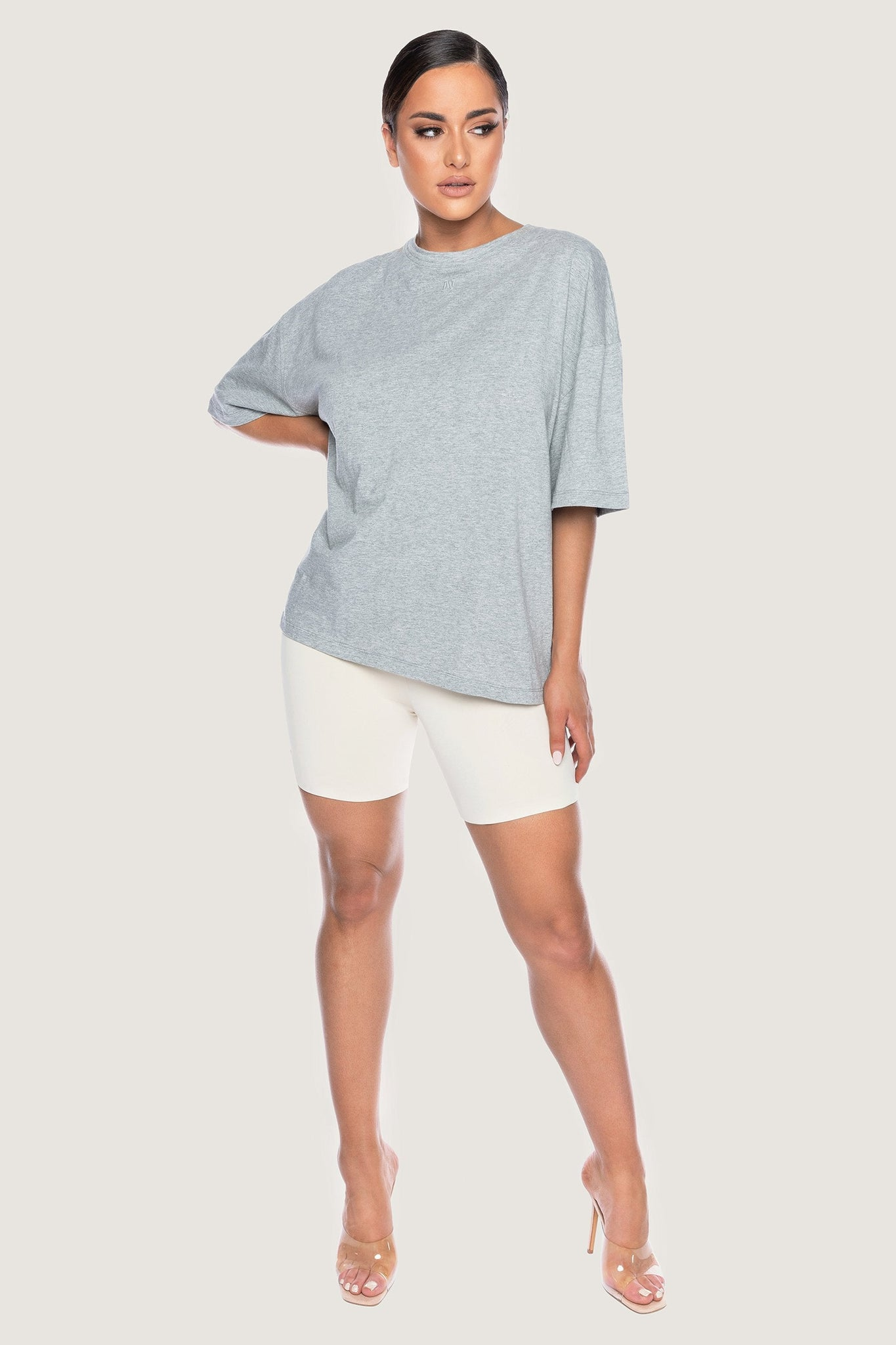 Rose Oversized T-Shirt - Grey Marle - MESHKI