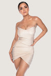 Palma Shimmer Strapless Wrap Dress - Pink