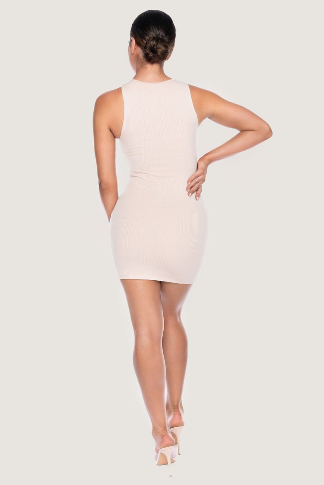 Pania Ribbed Sleeveless Mini Dress - Nude - MESHKI