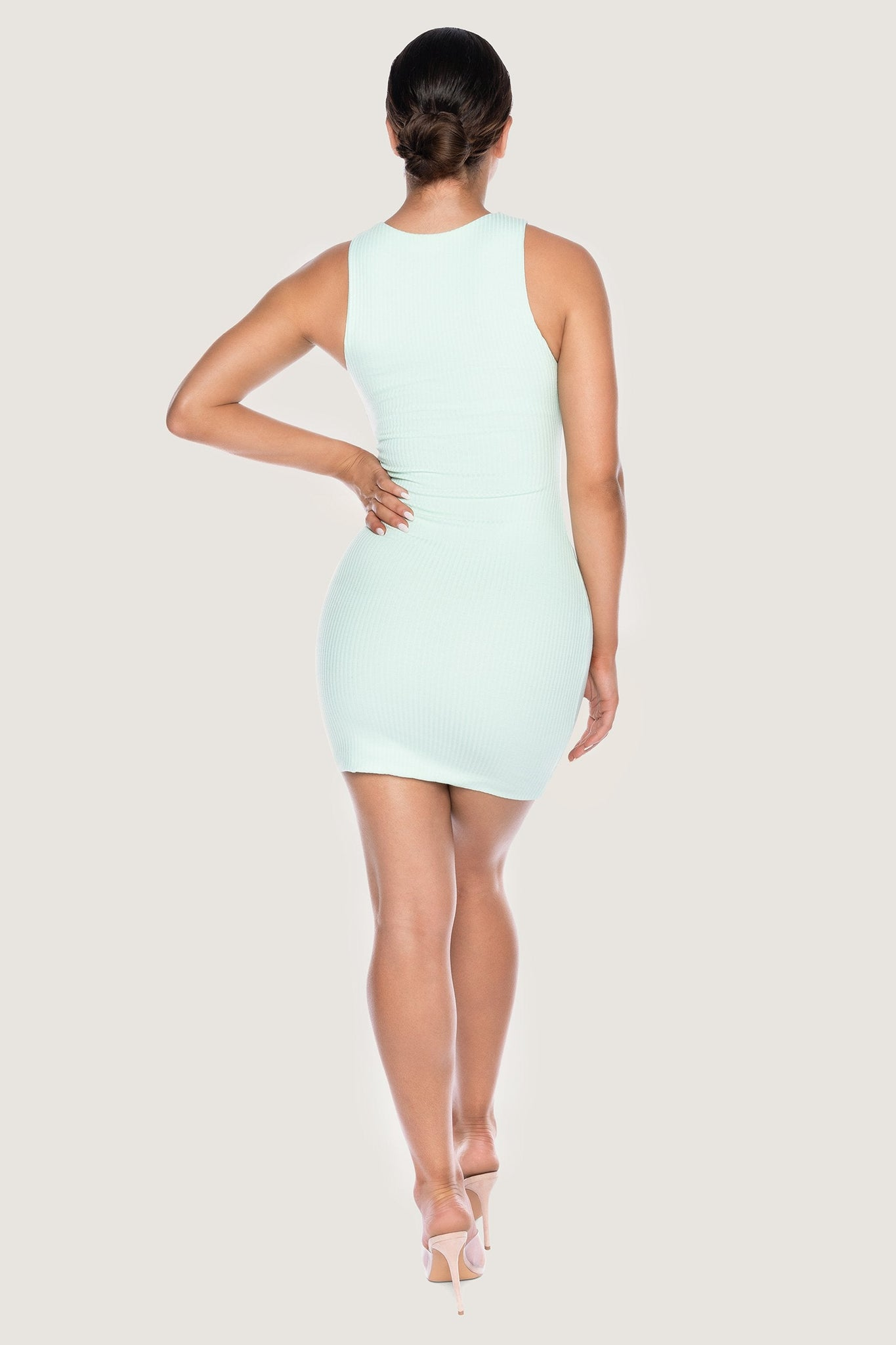 Pania Ribbed Sleeveless Mini Dress - Mint - MESHKI