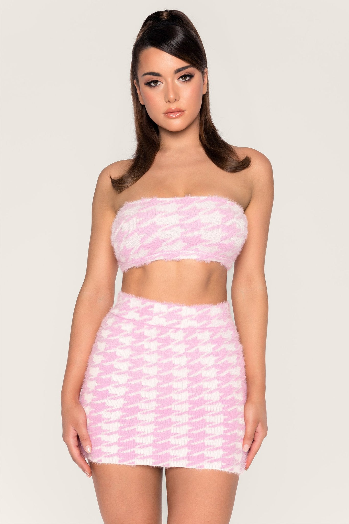 Cindie Fluffy Houndstooth Bandeau Top - Baby Pink - MESHKI