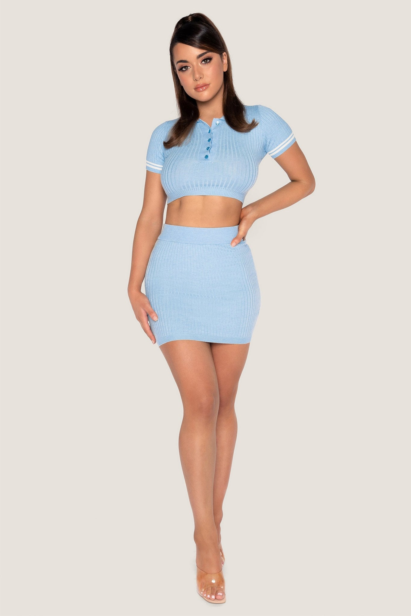 Cece Ribbed Mini Skirt - Baby Blue - MESHKI