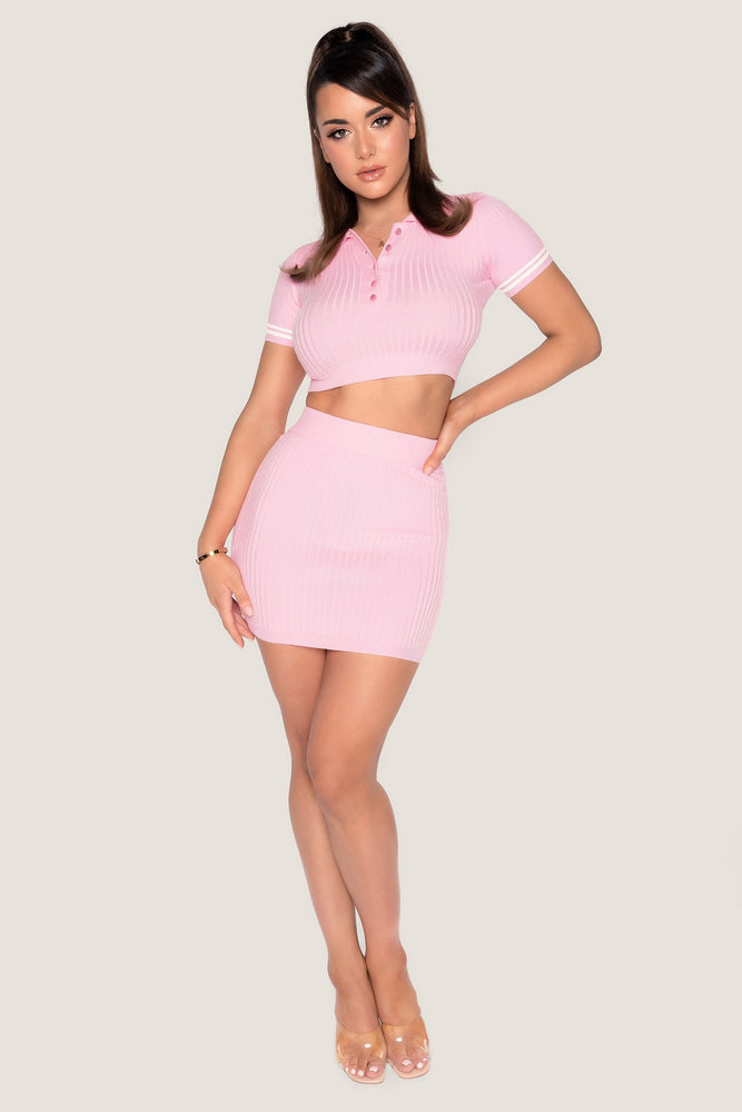 Cece Ribbed Mini Skirt - Pink - MESHKI ?id=14380897599563