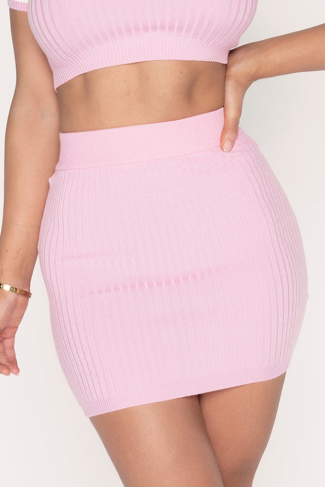 Cece Ribbed Mini Skirt - Pink - MESHKI ?id=14455048568907
