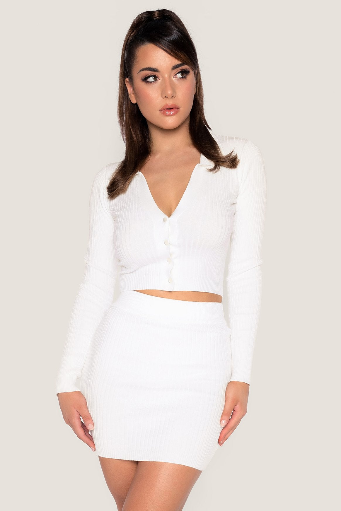Cece Ribbed Mini Skirt - White - MESHKI