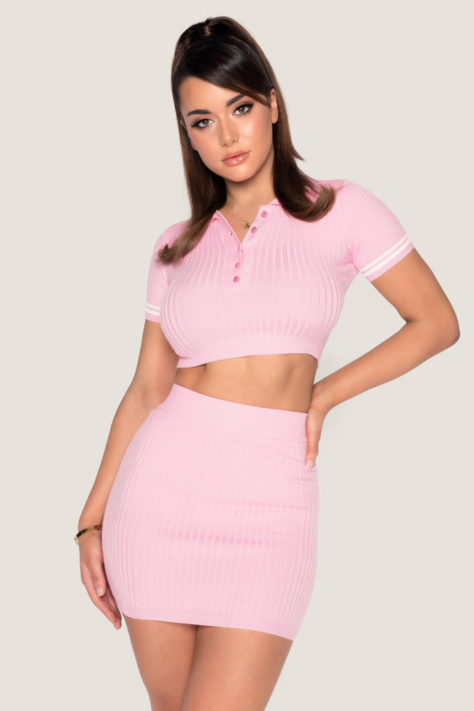 Cece Short Sleeve Cropped Polo Top - Pink - MESHKI