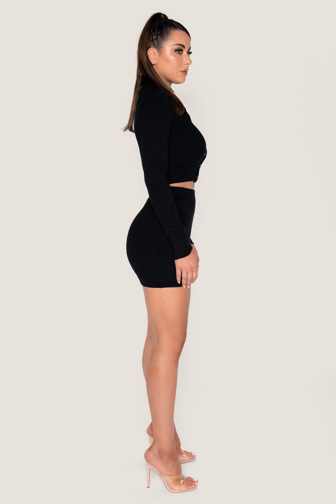 Cece Ribbed Mini Skirt - Black - MESHKI