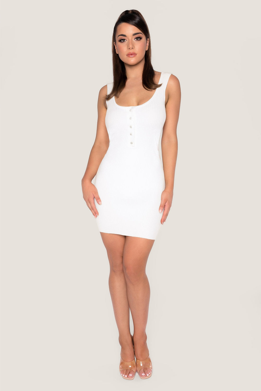 Patricia Ribbed Diamante Button Mini Dress - White - MESHKI ?id=14380959563851