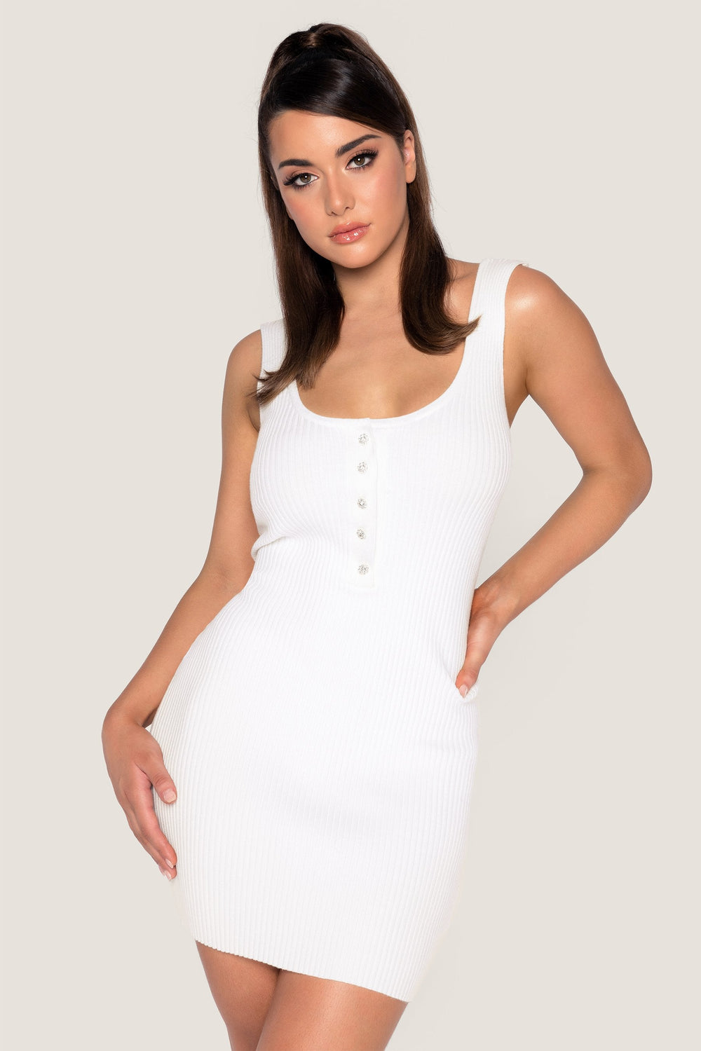 Patricia Ribbed Diamante Button Mini Dress - White - MESHKI ?id=14380959629387
