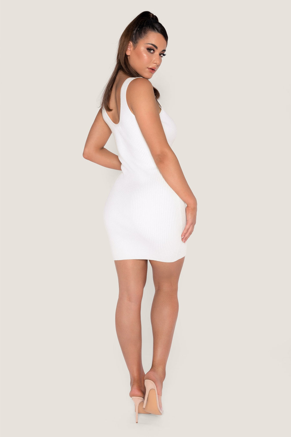 Patricia Ribbed Diamante Button Mini Dress - White - MESHKI ?id=14380959727691