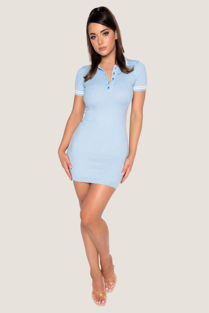 Cece Short Sleeve Polo Mini Dress - Baby Blue - MESHKI