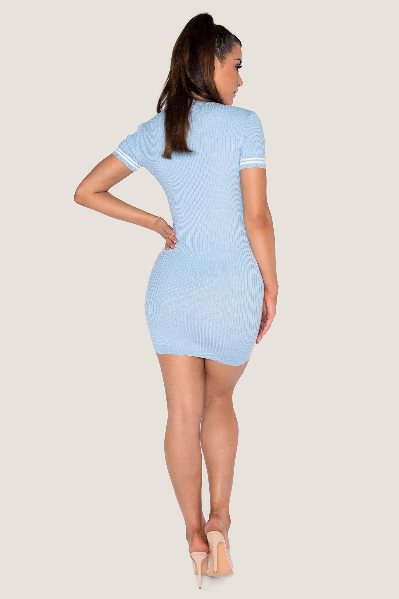 Lauri Short Sleeve Mini Dress - Baby Blue - MESHKI