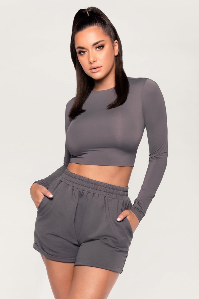Emely Long Sleeve Crop Top - Charcoal - MESHKI