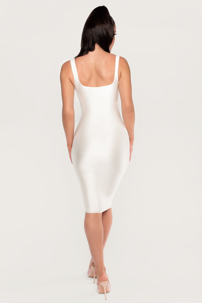Mamie Knot Front Shining Midi Dress - White - MESHKI