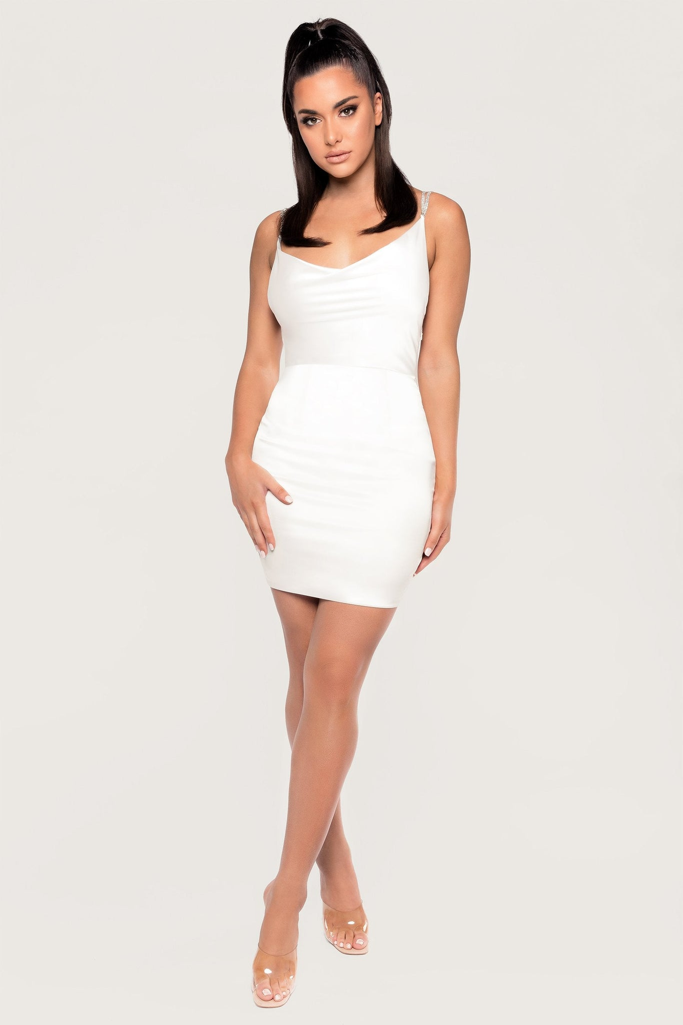 Hollie Cowl Diamante Mini Dress - Cream - MESHKI