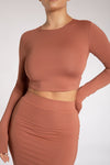 Emely Long Sleeve Crop Top  - Sage